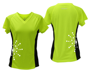 ruseen running Women's reflective performance tee Directions lime with black sides