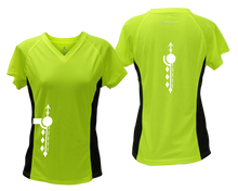 Load image into Gallery viewer, ruseen running Women's Paths performance reflective tee lime with black sides