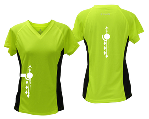 ruseen running Women's Paths performance reflective tee lime with black sides
