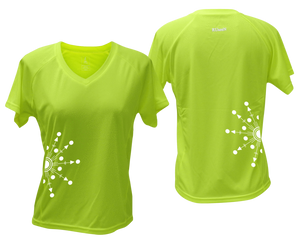 ruseen running Women's reflective performance tee Directions lime