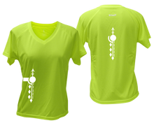 Load image into Gallery viewer, ruseen running Women's Paths performance reflective tee lime yellow