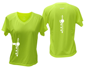 ruseen running Women's Paths performance reflective tee lime yellow