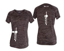 Load image into Gallery viewer, ruseen running Women's Paths performance reflective tee maroon stripes