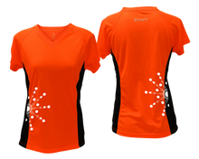 Load image into Gallery viewer, ruseen running Women's reflective performance tee Directions orange with black sides