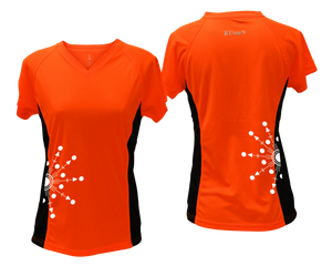 ruseen running Women's reflective performance tee Directions orange with black sides