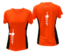 Load image into Gallery viewer, ruseen running Women's Paths performance reflective tee orange with black sides