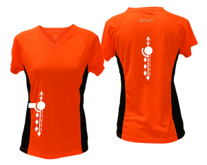ruseen running Women's Paths performance reflective tee orange with black sides