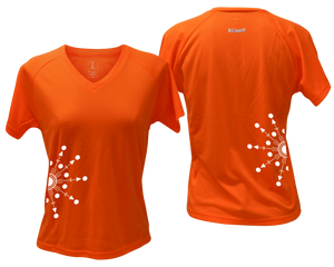 ruseen running Women's reflective performance tee Directions orange