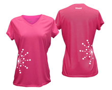 Load image into Gallery viewer, ruseen running Women's reflective performance tee Directions neon pink