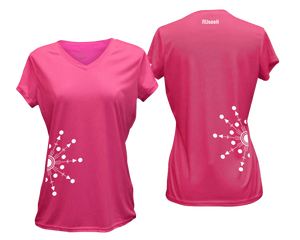 ruseen running Women's reflective performance tee Directions neon pink