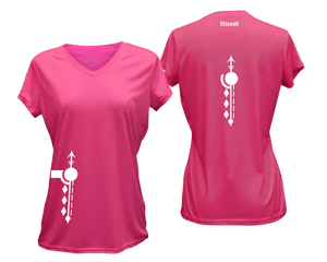 ruseen running Women's Paths performance reflective tee neon pink