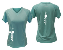 Load image into Gallery viewer, ruseen running Women's Paths performance reflective tee sea green