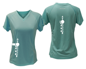 ruseen running Women's Paths performance reflective tee sea green
