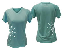 Load image into Gallery viewer, ruseen running Women's reflective performance tee Directions sea green