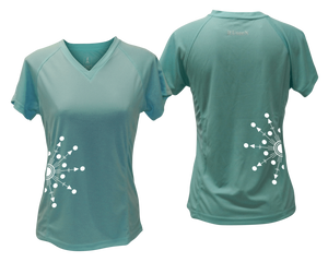 ruseen running Women's reflective performance tee Directions sea green
