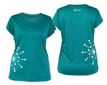 Load image into Gallery viewer, ruseen running Women's reflective performance tee Directions teal