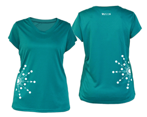 ruseen running Women's reflective performance tee Directions teal