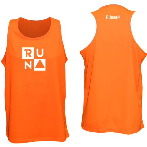 ruseen running run squared mens reflective tank orange