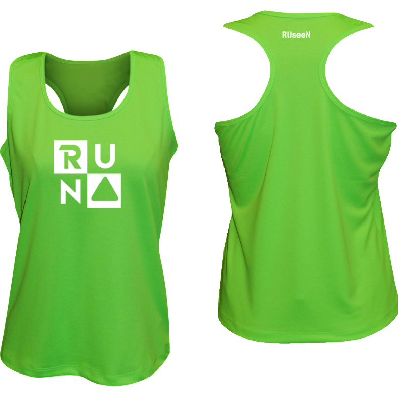 ruseen running Women's performance running tank run squared neon green