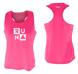 ruseen running Women's performance running tank run squared neon pink