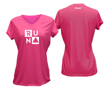 Load image into Gallery viewer, ruseen running Women's Run Squared performance reflective tee pink