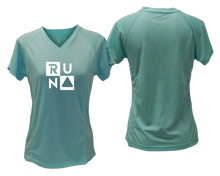 Load image into Gallery viewer, ruseen running Women's Run Squared performance reflective tee sea green