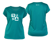 Load image into Gallery viewer, ruseen running Women's Run Squared performance reflective tee teal