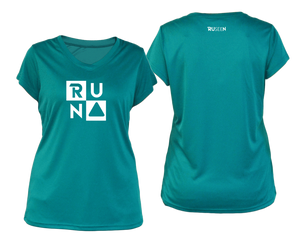ruseen running Women's Run Squared performance reflective tee teal