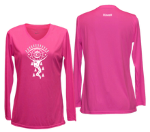 Load image into Gallery viewer, women's reflective long sleeve running shirt wanderlust pink