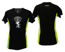 Load image into Gallery viewer, ruseen running shop women's running shirt black with lime sides