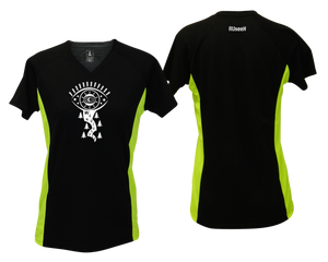 ruseen running shop women's running shirt black with lime sides