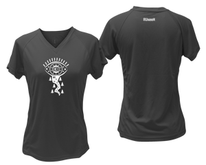 ruseen running women's wanderlust short sleeve reflective running tee black