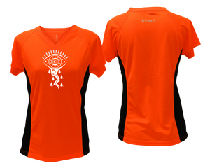 shop unique running shirt with orange and black coloring