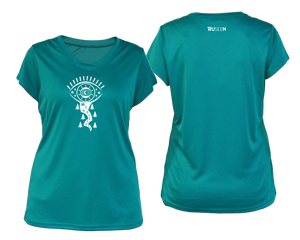 sea green running shirt with short sleeves