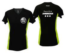Load image into Gallery viewer, ruseen running Women's Proud American reflective performance tee black & lime