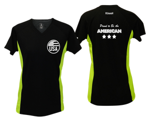 ruseen running Women's Proud American reflective performance tee black & lime