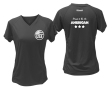 Load image into Gallery viewer, ruseen running Women's Proud American reflective performance tee black