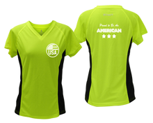 Load image into Gallery viewer, ruseen running Women's Proud American reflective performance tee lime with black sides