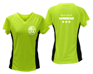 ruseen running Women's Proud American reflective performance tee lime with black sides