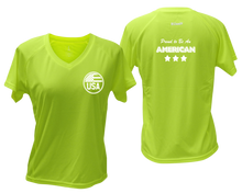 Load image into Gallery viewer, ruseen running Women's Proud American reflective performance tee lime yellow