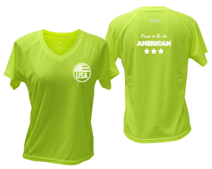 ruseen running Women's Proud American reflective performance tee lime yellow