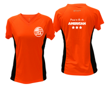 Load image into Gallery viewer, ruseen running Women's Proud American reflective performance tee orange with black sides
