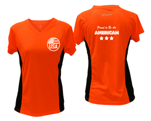 ruseen running Women's Proud American reflective performance tee orange with black sides