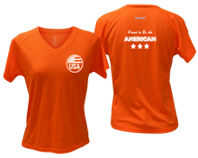 Load image into Gallery viewer, ruseen running Women's Proud American reflective performance tee orange