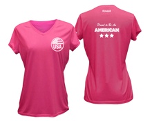 Load image into Gallery viewer, ruseen running Women's Proud American reflective performance tee neon pink