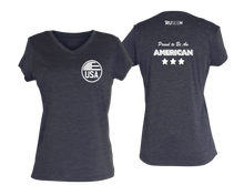 Load image into Gallery viewer, ruseen running Women's Proud American reflective performance tee purple heather