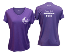Load image into Gallery viewer, ruseen running Women's Proud American reflective performance tee purple