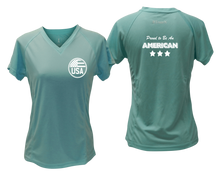 Load image into Gallery viewer, ruseen running Women's Proud American reflective performance tee sea green