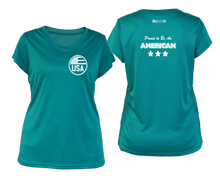 Load image into Gallery viewer, ruseen running Women's Proud American reflective performance tee teal