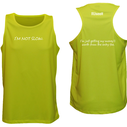 ruseen running men's performance running tank getting money lime yellow